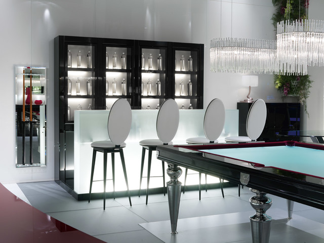 Glass Pool Table/Billiard Table Contemporary Family Room