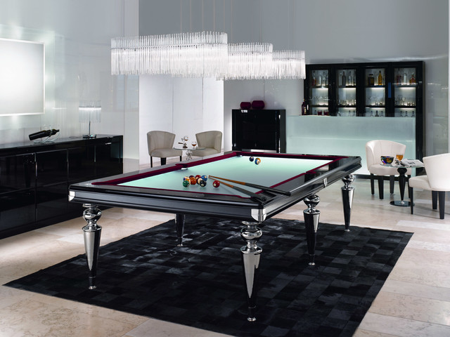 Glass pool table billiard table contemporary family room orange county - Table billard design ...