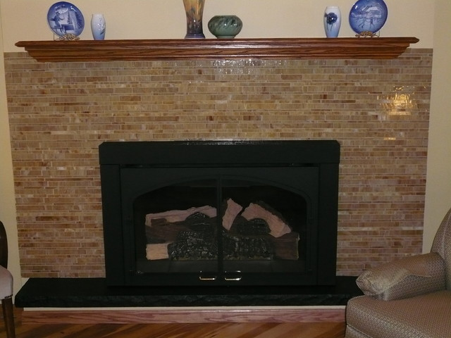 Glass Tile Fireplace Surround Modern Family Room