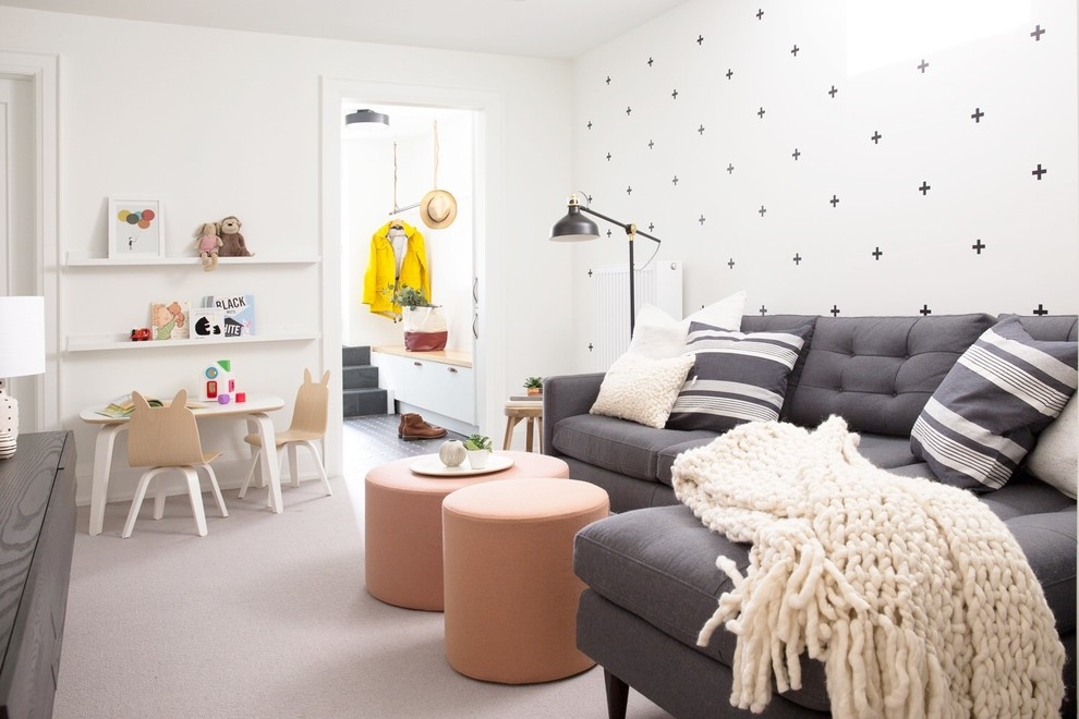 Small trendy open concept carpeted and gray floor family room photo in Toronto with white walls