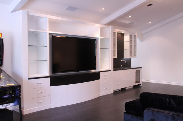 Gloss White Rec Room and Bath Cabinets - Contemporary ...