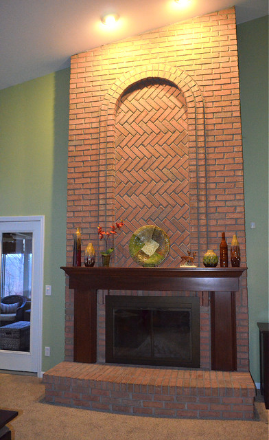 Gorgeous floor to ceiling brick fireplace traditional - Floor to ceiling brick fireplace makeover ...