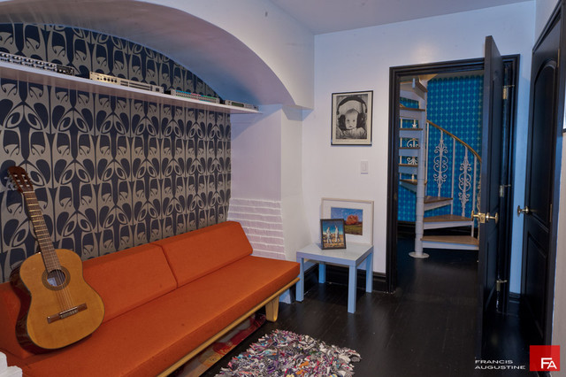 eclectic media room by Marie Burgos Design