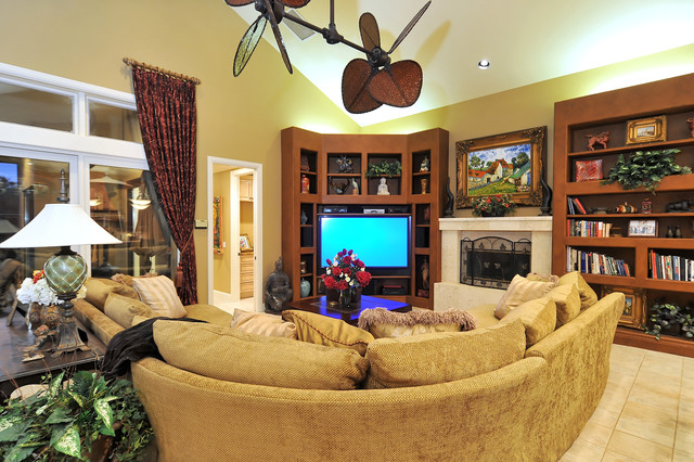 Grand Media Room tropical-family-room