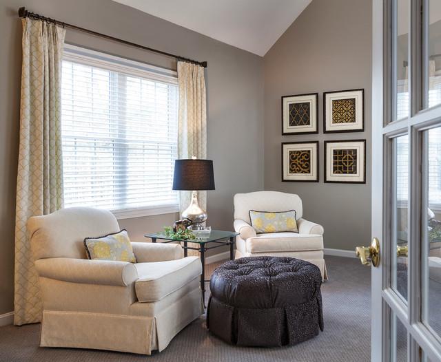 Gray Gold Cream Black Family Room Transitional