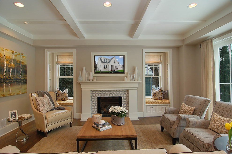 Inspiration for a transitional family room remodel in Minneapolis with gray walls