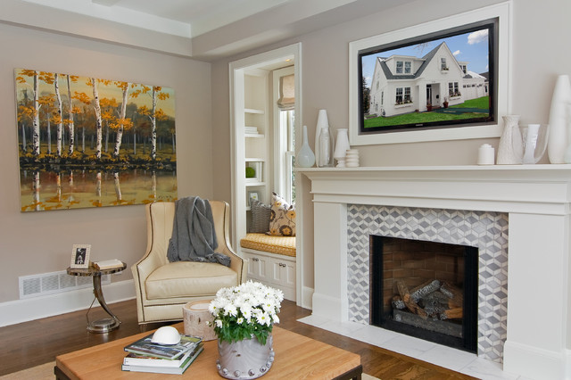 Family Room  Transitional Family Idea In Minneapolis With Gray Walls Slate Tile Fireplace Surround Houzz
