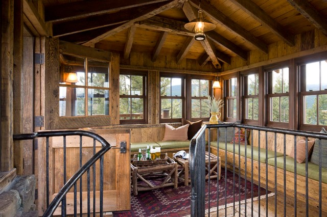 Great point lodge rustic family room by on site for Lookout tower house plans