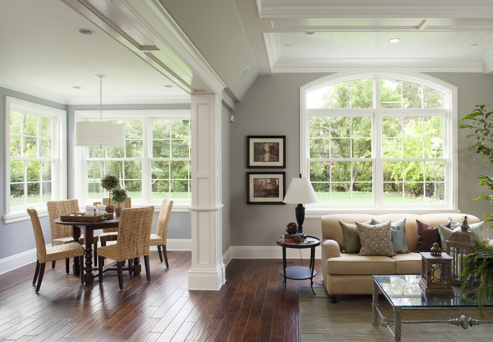Elegant family room photo in San Francisco with gray walls