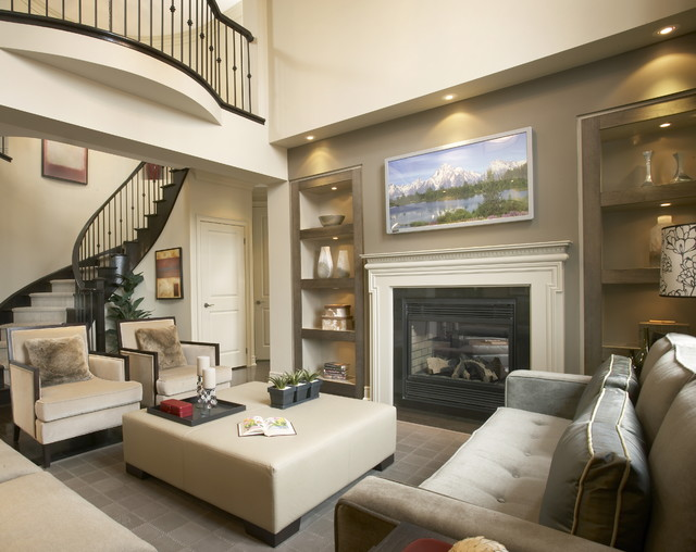 Great Room Transitional Family Room Toronto By