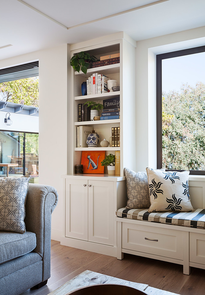 Inspiration for a mid-sized contemporary open concept family room remodel in San Francisco with white walls