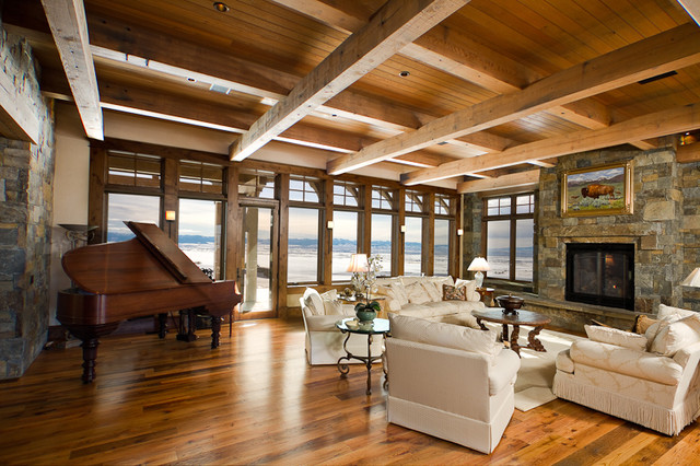 Great room rustic family room denver by teton for Rustic great room