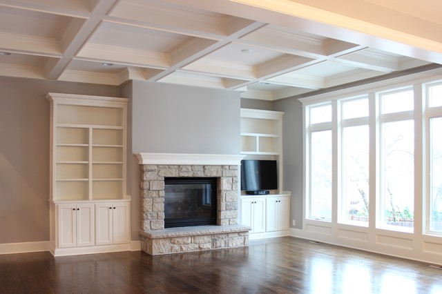Great Room With Coffered Ceiling Traditional Family