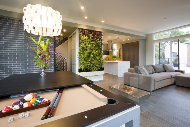 green cube - leed platinum showhome - contemporary - family room