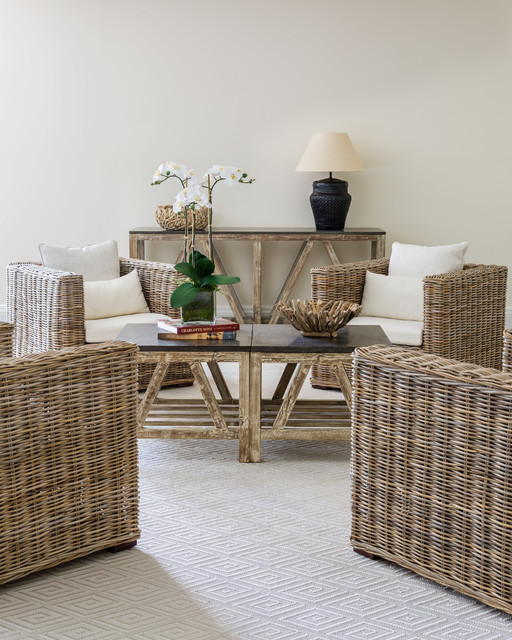 Family room - beach style carpeted and beige floor family room idea in New York with white walls