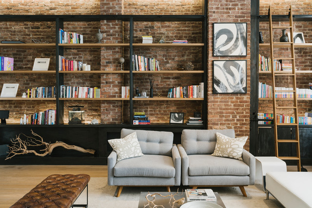 greenwich village loft industrial wohnzimmer new