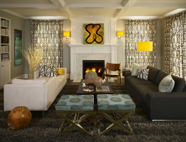 Greys with splashes of lemon yellow make this family room for Small house design houzz