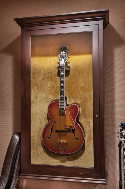 Guitar Display Cabinet Traditional Family Room