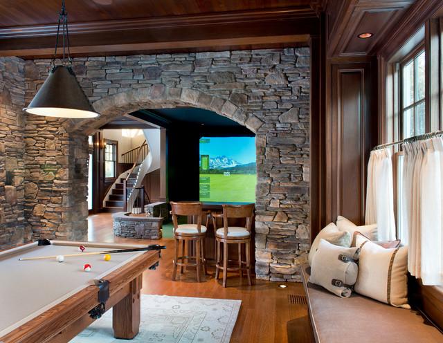 Gym Golf Simulator Traditional Family Room Boston