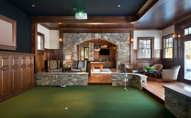 Gym Golf Simulator Traditional Family Room Boston
