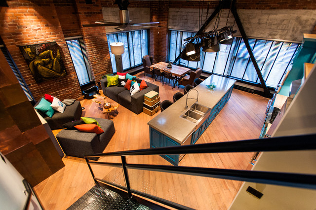 Hamilton eclectic industrial industrial family room for Industrial design corporation