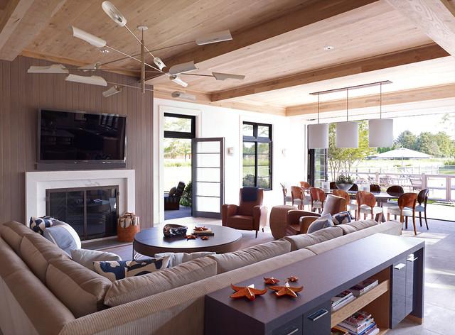 Hampton beach house beach style family room new york for Hampton beach house designs