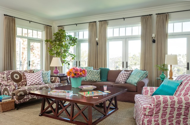 hamptons style house transitional family room los