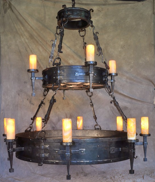 Hand Forged Chandelier Rustic Family Room Other Metro By Ironton Forge