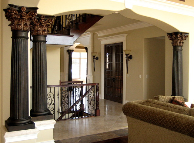hand painted columns mediterranean family room
