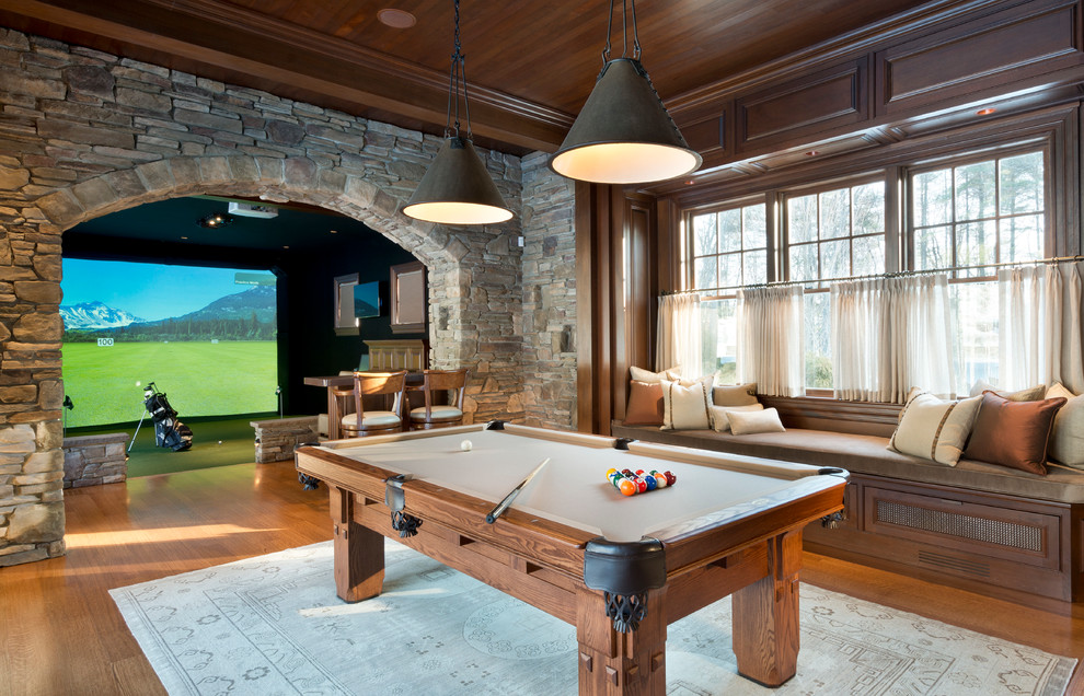 Inspiration for a timeless medium tone wood floor game room remodel in Boston