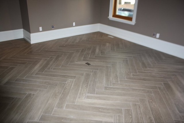 "Herringbone ""Yes its Tile"" Hardwood - Modern - Family Room ..."