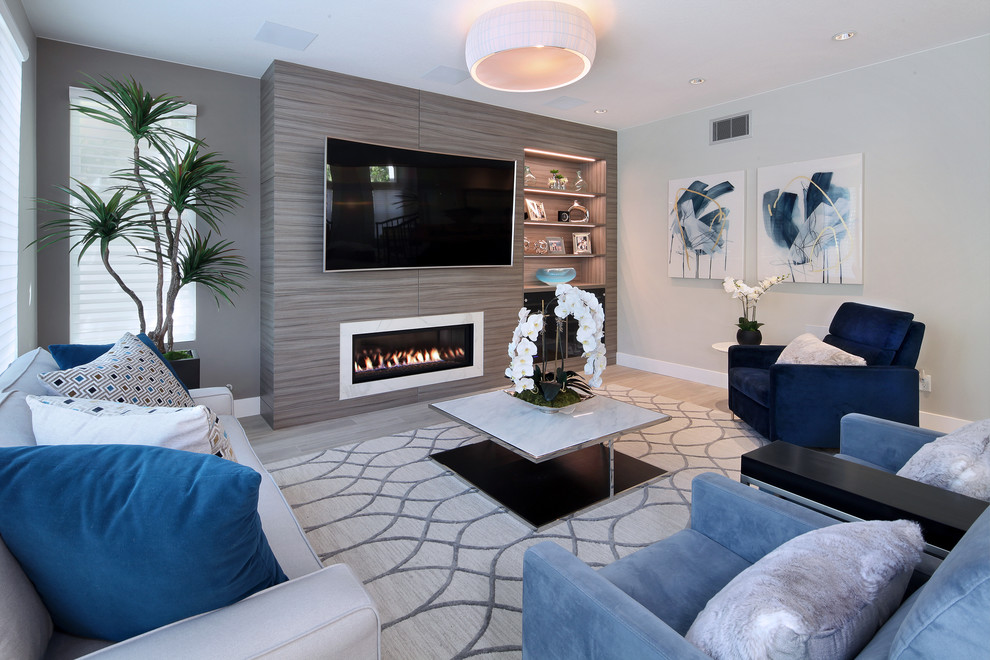 Beach style family room photo in Orange County