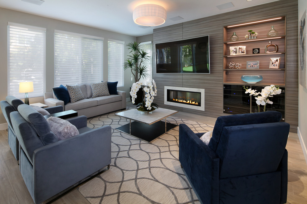 Inspiration for a coastal family room remodel in Orange County