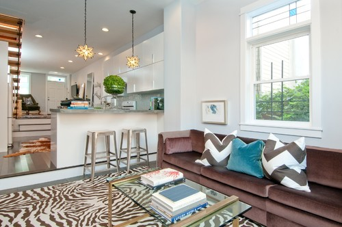 Off White And Brown Zebra Print Area Rug In Living Room