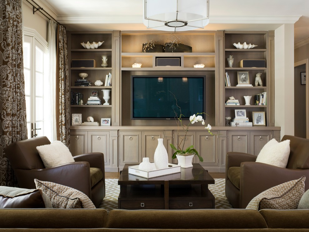 Example of a classic family room design in San Francisco with no fireplace and a media wall