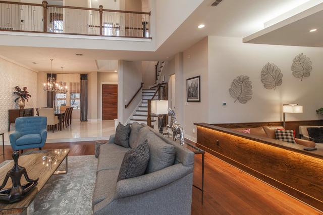 Example of a trendy open concept medium tone wood floor family room design in Dallas