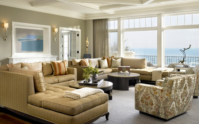 Historic transformation transitional family room for Transitional living room furniture ideas