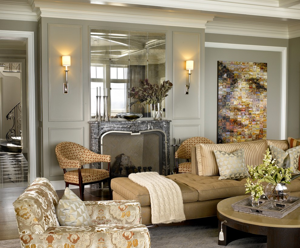 Family room - transitional family room idea in Chicago with gray walls, a standard fireplace and a stone fireplace