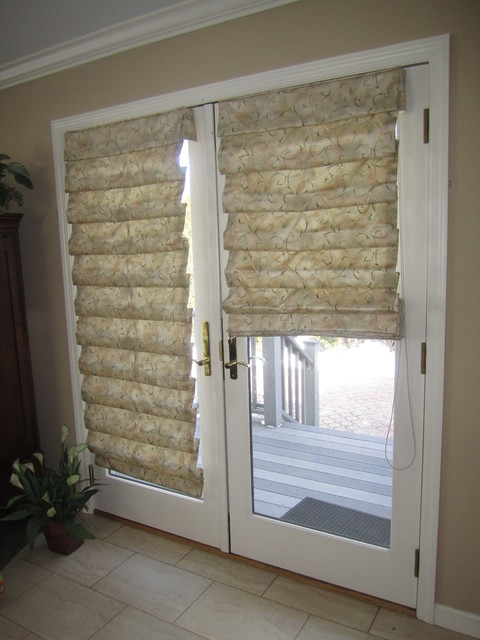 hobbled roman shades on french doors traditional. Black Bedroom Furniture Sets. Home Design Ideas