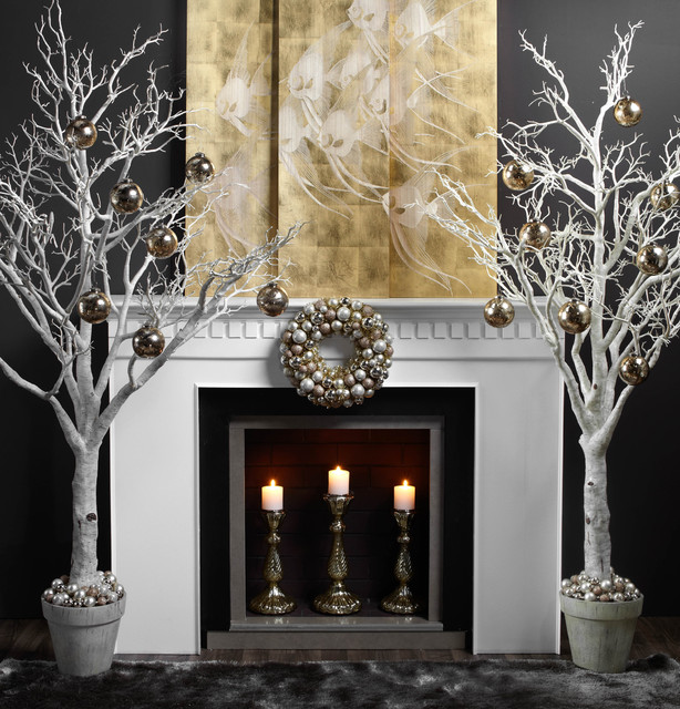 Holiday dearth contemporary family room other metro - Modern christmas mantel ideas ...
