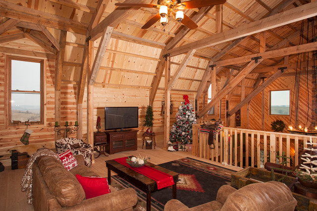 Holiday Gambrel Barn Home Rustic Family Room Other