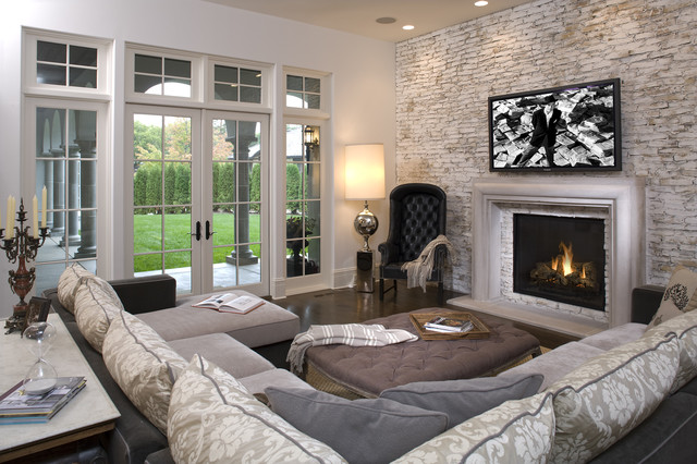 hollywood chic living room mediterranean family room - Family Living Room Design Ideas