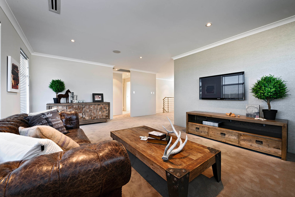 Example of a trendy family room design in Perth