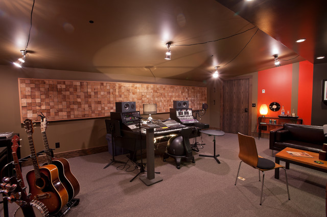 Home music studio eclectic family games room for Music room in house