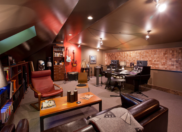 Home music studio eclectic family room minneapolis for Music home studio design ideas