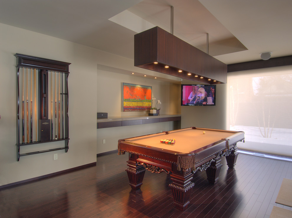 Mid-sized trendy dark wood floor and brown floor game room photo in Toronto with beige walls and a wall-mounted tv