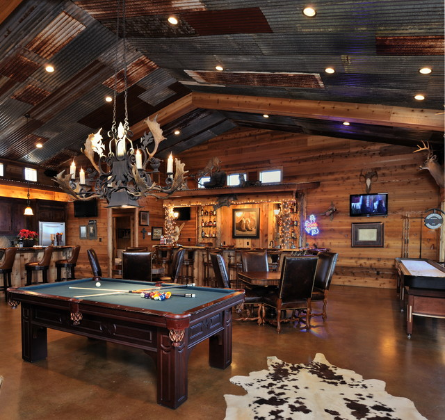 Home on the ranch rustic family room houston by for Family game room ideas