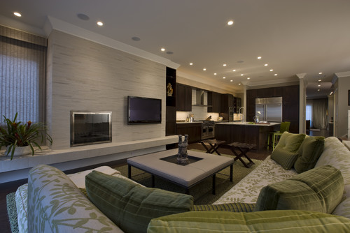 Honore-Transitional Family Room & Kitchen contemporary family room