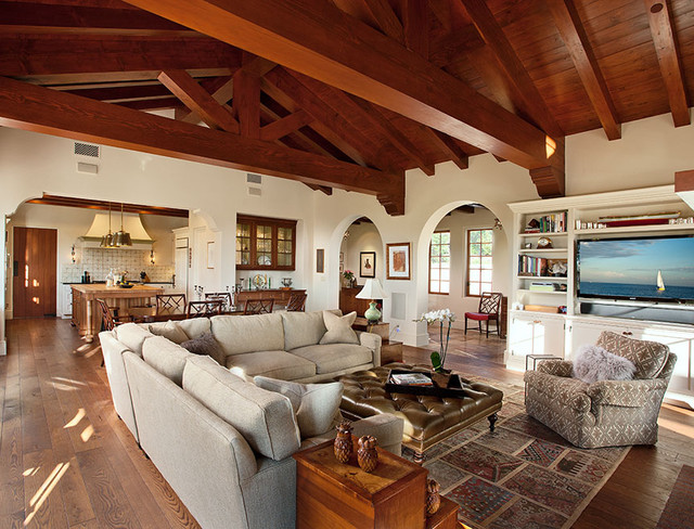 Hope ranch spanish style custom home family room for Spanish hacienda style
