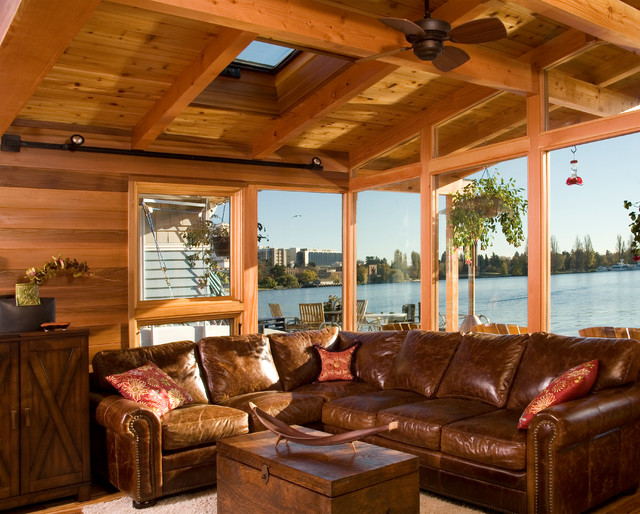 Houseboat -- a Seattle Floating Home Renovation transitional-family-room